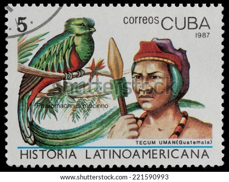 CUBA - CIRCA 1987: The postal stamp printed in CUBA shows tecum uman, (Guatemala) and pharomachrus mocinno, circa 1987 - stock photo