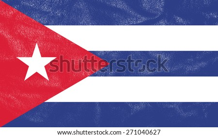 Cuba flag on leather texture - world flag leather textured - stock photo