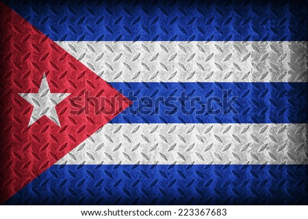 Cuba flag pattern on the diamond metal plate texture ,vintage style - stock photo