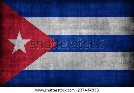 Cuba flag pattern,retro vintage style - stock photo