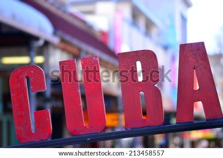 Cuba Street sign in Wellington, New Zealand. - stock photo