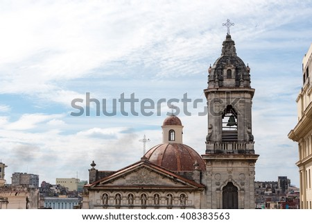 Cuba tourism: Old Havana Catholic church from Spanish colonial times. Old Havana is a Unesco World Heritage Site - stock photo