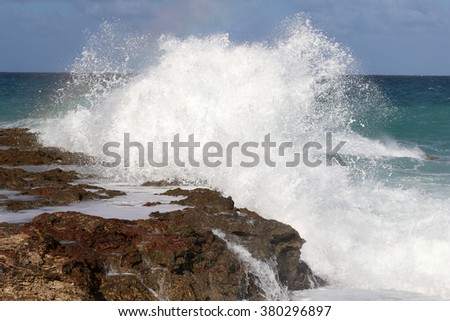 Cuba, Varadero, huge wave - stock photo