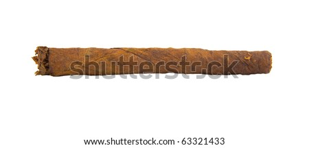 cuban cigar isolated in white - stock photo