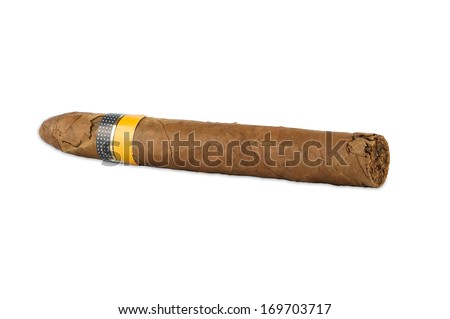 Cuban cigar isolated on white background with clipping path - stock photo