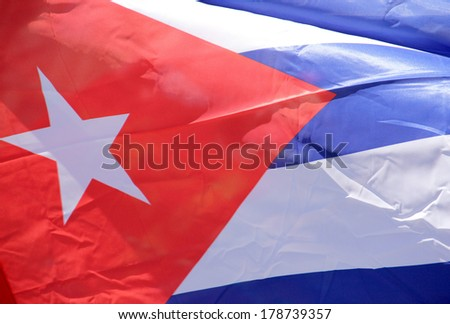Cuban flag in the wind - stock photo