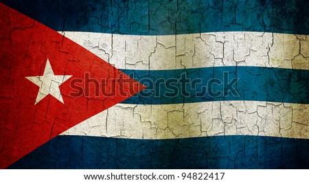 Cuban flag on a cracked grunge background - stock photo
