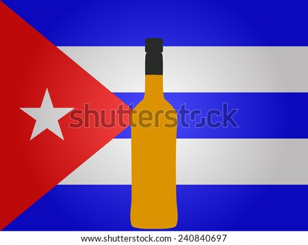 Cuban Flag with a Bottle of Rum - stock photo