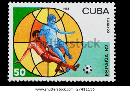 cuban post stamp to the world football championship of 1982 in Spain - stock photo