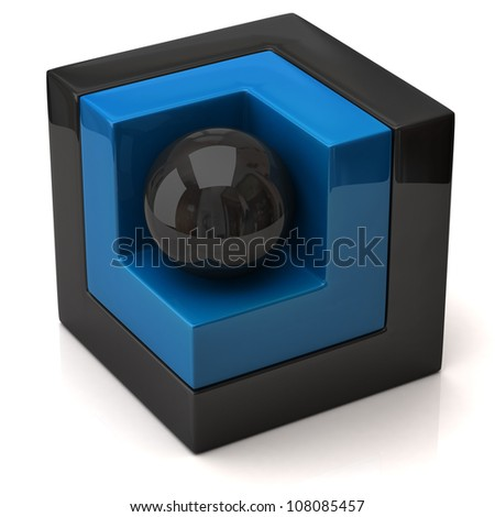 Cube and sphere on white - stock photo