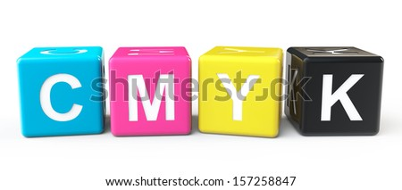 Cube Blocks with CMYK sign on a white background - stock photo