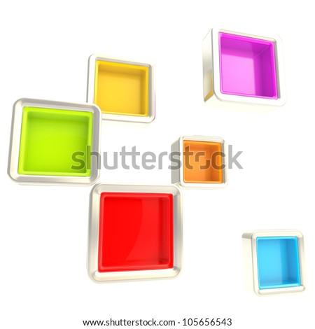 Cube copyspace colorful silver shelves isolated on white as abstract background - stock photo