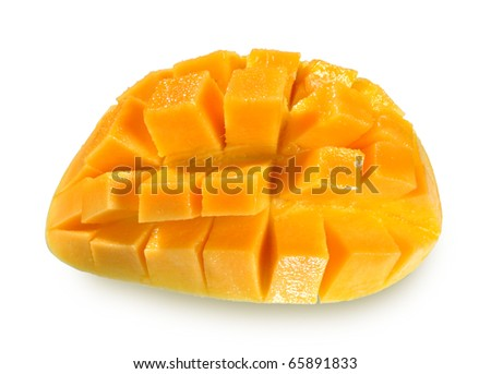 Cube Cut Mango - stock photo