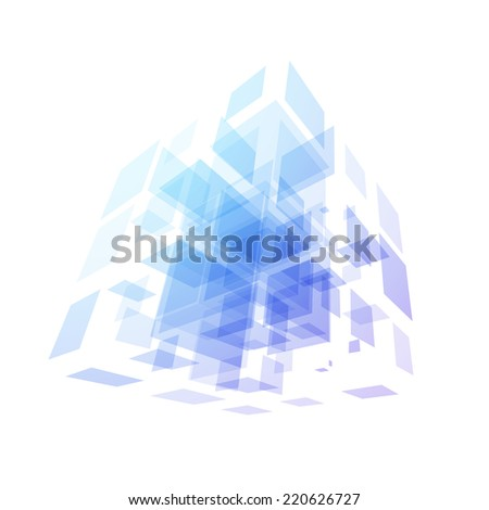 Cube geometry construction icon purple blue symbol isolated on white background, abstract sign for business company, illustration - stock photo