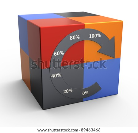 Cube graph with percentage sign - stock photo