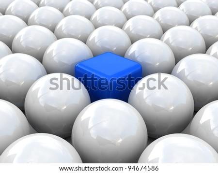 Cube in spheres. Concept of unique - stock photo