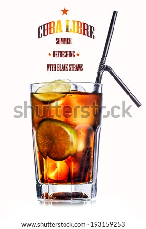 Cube libre. Cocktail with soda with rum and lime slices in faceted highball glass. Cool summer cocktail - stock photo