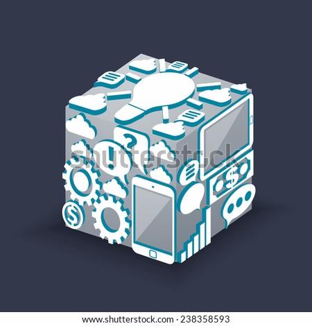 Cube of cloud computing schema concept with smartphone graph lightbulb bubble dollar cogwheel. Raster version - stock photo