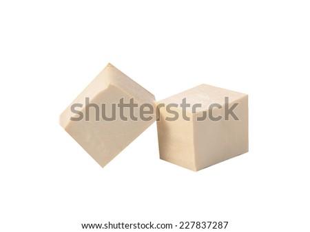 cube tofu isolated on white - stock photo