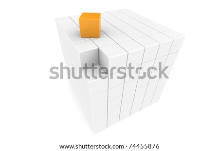Cube with missing piece - stock photo
