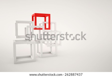 Cubes abstract composition with red and white cubes on white background - stock photo