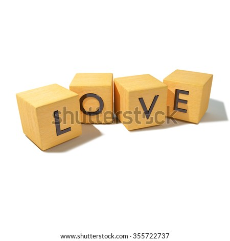 Cubes and dice with love - stock photo