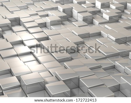 Cubes are aligned in a grid. Surface is uneven. - stock photo