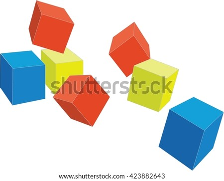 cubes color 4 - stock photo