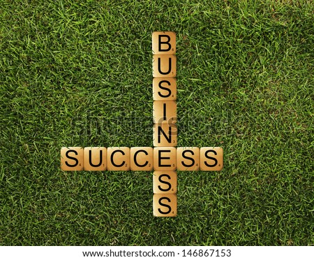 cubes crossword success of business on grass - stock photo