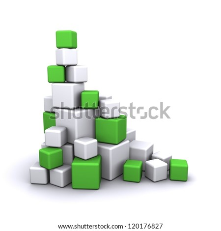 cubes green - stock photo