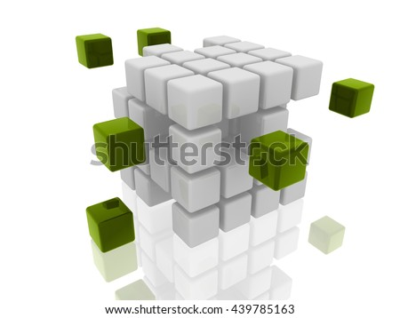 cubes group- 3D illustration - stock photo