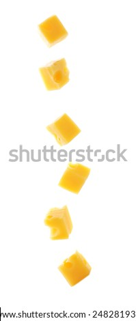 Cubes of cheese isolated on white background - stock photo