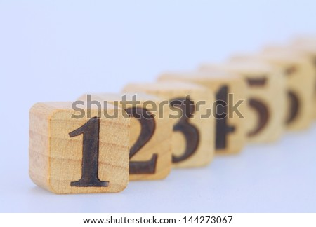 cubes with numbers - stock photo