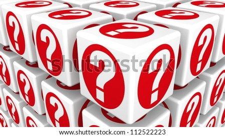 Cubes with Question Marks - stock photo