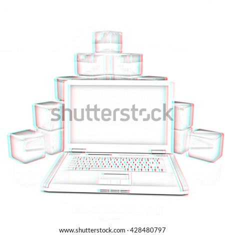 Cubic diagram structure and laptop. On a white background. Pencil drawing. 3D illustration. Anaglyph. View with red/cyan glasses to see in 3D. - stock photo