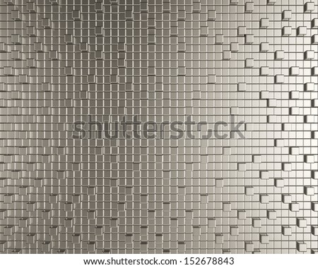 Cubic metallic creative background. Geometric chrome pattern design  - stock photo