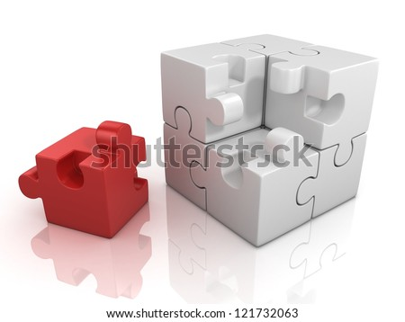 cubical puzzle with one red piece - individuality, solving problem 3d concept - stock photo