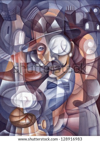 Cubism Face. Illustration by Eugene Ivanov. - stock photo
