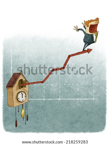 cuckoo clock financial growth chart - stock photo
