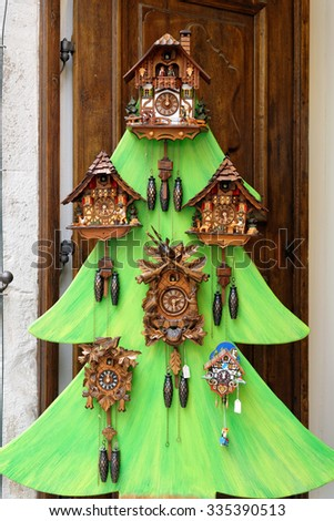 Cuckoo Clocks from Rothenburg ob der Tauber in Germany. - stock photo