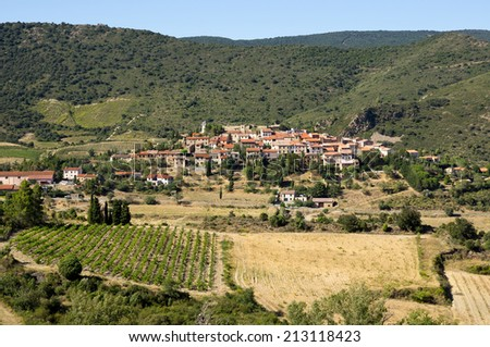 Cucugnan, next to Queribus Cathar Castle, general view - stock photo