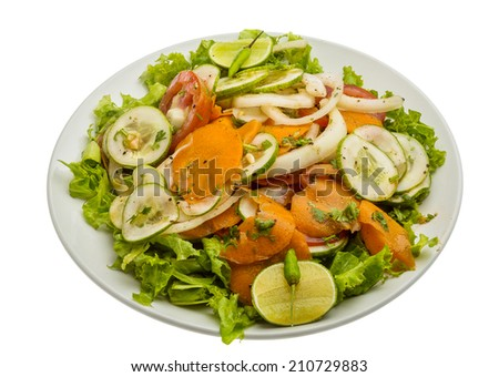 Cucumber salad - with tomato and pepper - stock photo