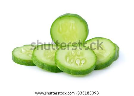 cucumber slice on white background - stock photo