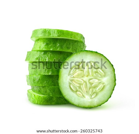 Cucumber slices isolated on white - stock photo