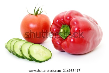 Cucumber, tomato and pepper on white background. - stock photo
