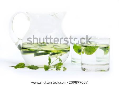 Cucumber water - stock photo