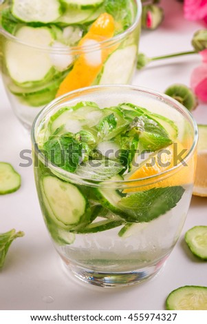 Cucumber Water is one of the most popular Detox Water recipes. Refreshing Detox Lemon, Cucumber and Mint Water. Infused Water.  - stock photo