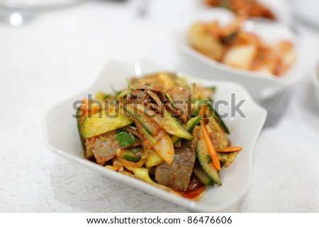 Cucumber with Beef as salad in the korean restaurant - stock photo