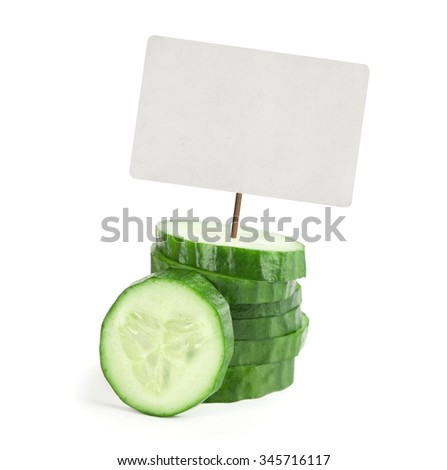 cucumber with price tag isolated on white - stock photo