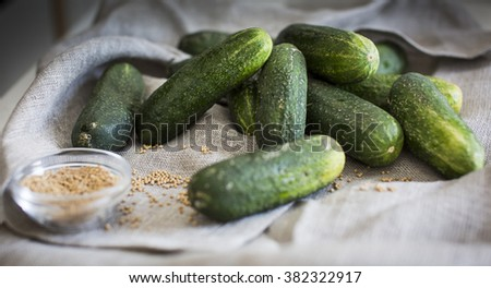Cucumbers and mustard seeds as an ingredient for pickles - stock photo